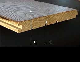 Klasická podlahová prkna - palubky - detail konstrukce